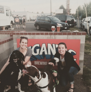 Beer Bestie, Beckie with #DannerBrasston and Jenna with #BulletTheDog at Gigantic