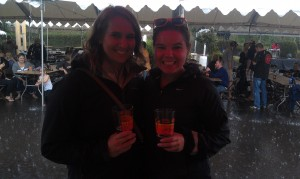 Beckie and I braving the rain for Biketobeer 2013!